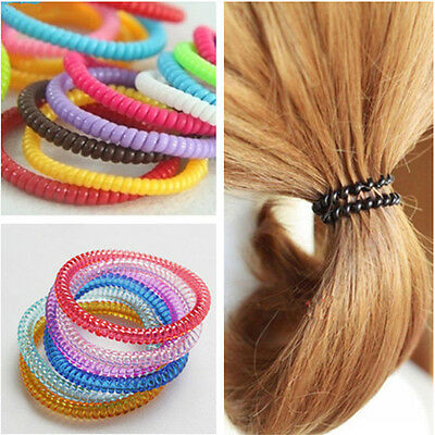 10pcs Women Girls Super Thin Colorful/Black Rubber Telephone Wire Hair Ties Rope