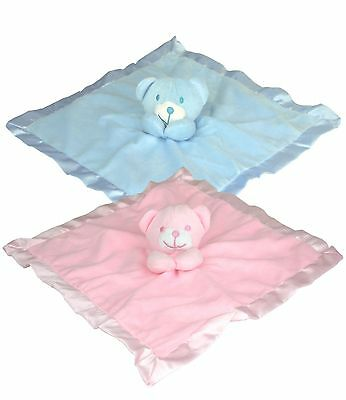 BabyPrem Baby Boys Girls Soft Toy Comfort Blanket Bear Soft & Silky Satin Birth+