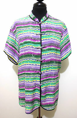 CULT VINTAGE '80 Camicia Donna Seta Optical Blusa Silk Woman Shirt Sz.L - 46