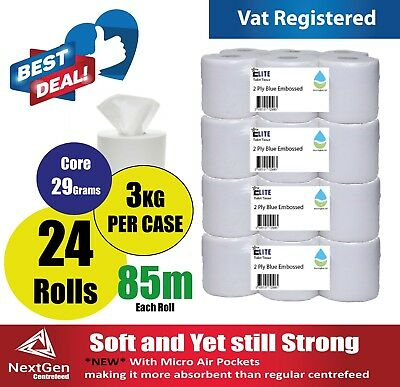 30 rolls(5 PACKS) x White Centrefeed Embossed 2ply Wiper Paper Towel 85M
