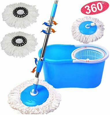 360° Spinning Magic Mop with Space Saving Bucket Adjustable Handle + 2 Mop Heads