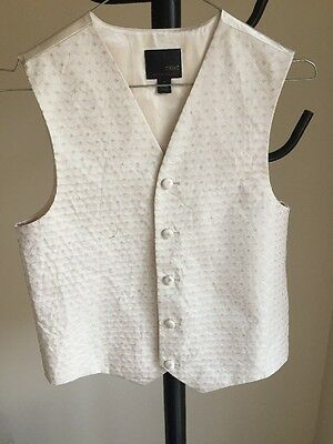 Next Boys Waistcoat Cream Sparkly Formal Occasion Age 11 Years 146 cm (01)