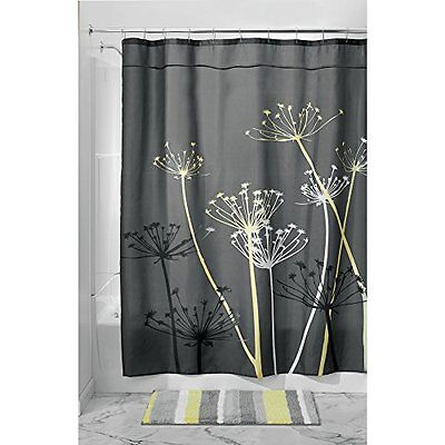 NEW InterDesign Thistle Shower Curtain 72 x 72 Inch Gray Yellow FREE SHIPPING