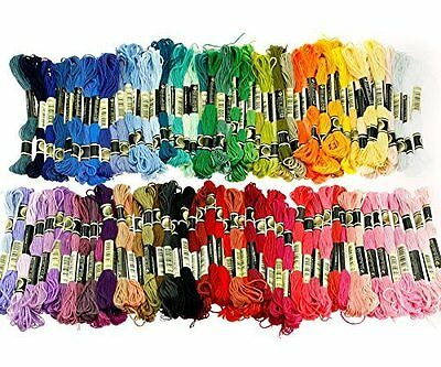 Tinksky 100 Skeins of 8M Multi color Soft Cotton Cross Stitch Embroidery Threads