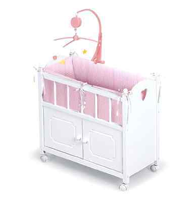 Baby Wooden Doll Crib Pink White Girl Play Bedding Mobile Cradle Musical Cabinet