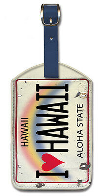 Leatherette Travel Luggage Tag Baggage Label - I Heart Hawaii License Plate