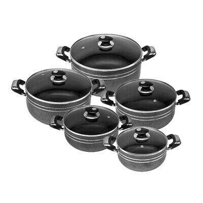 5Pc Die Cast Non Stick Deep Casserole Pot Cookware Glass Lid Set Black
