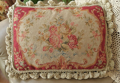 """20""""Classic Vintage Pastel Muted Color Shabby Cottage Decor Needlepoint Pillow"""