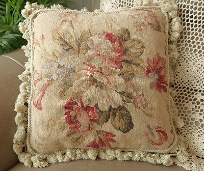 "16"" Shabby Country Full Blooming Flowers Hand Woven Wool Needlepoint Pillow"
