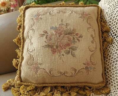 "12"" OLD Vintage Antique Style Tiny Petit Point Handmade Rose Needlepoint Pillow"