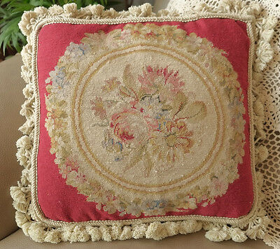 "14"" Vintage Royal French Red Beige Floral Circle Handmade Needlepoint Pillow"