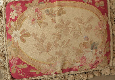 "16"" So Stunning Rose Floral French Country Chic Shabby Needlepoint Pillow"