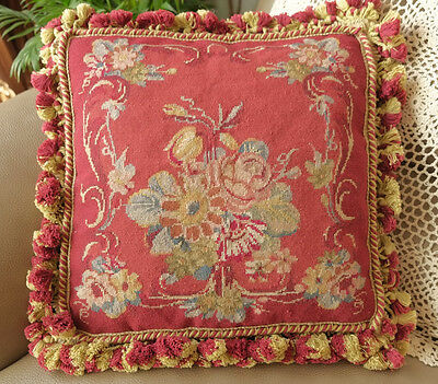"14"" Handmade French Country VTG. Aubusson Design Red Needlepoint Pillow"
