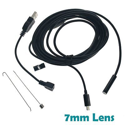 3.5M Android Endoscope 7mm 6 LED Waterproof Borescope Inspection Camera UK
