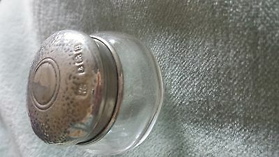 Antique Miniature Silver Topped Glass Container  1926