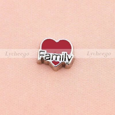 New Floating Charms Red Heart Shaped Family For Glass Living Memory Lockets 1pc