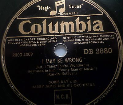 "DORIS DAY ""I May Be Wrong / The Very Thought Of You"" Columbia 78rpm 10"""