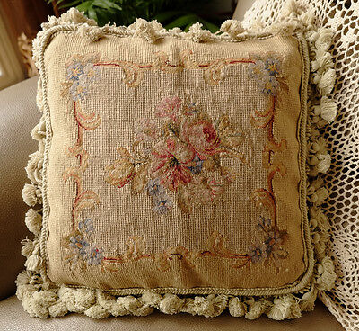 "14"" Rose Morning Glory Bunch Flunt Vines Beautiful Handmade Needlepoint Pillow"