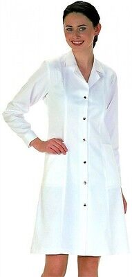 Ladies Lab Work Coat Doctors Medical Dental White Fitted Jacket Sizes 8-20 lw56
