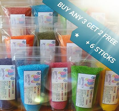 "Candy Floss Sugar bag 250g. BUY 3 GET 2 FREE+ 6 sticks11"" 22 flavours 12 colours"