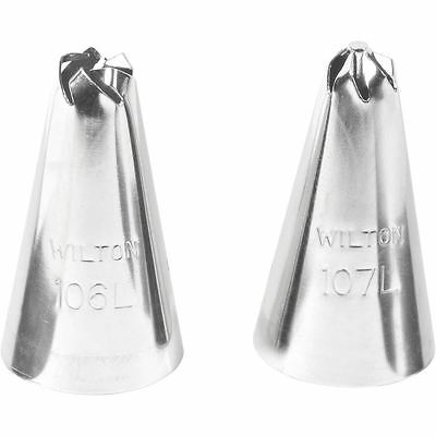 Wilton No 106 and No 107 Drop Flower Decorating Tip Set 2 Pack Cake Decoration
