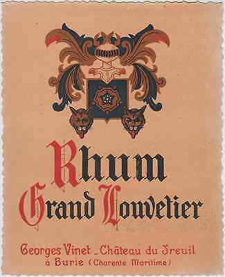 """RHUM GRAND LOUVETIER / Georges VINET Burie"" Etiquette litho originale"