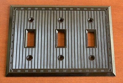 "BULK of 10 Bakelite Brown ""SMOOTHIE"" 3 Gang Triple Toggle Switch Plates Vintage"