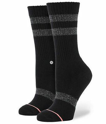 *new W/tag Stance Black And Silver Crew Sock Youth Size Medium (Fits Size 11-1)