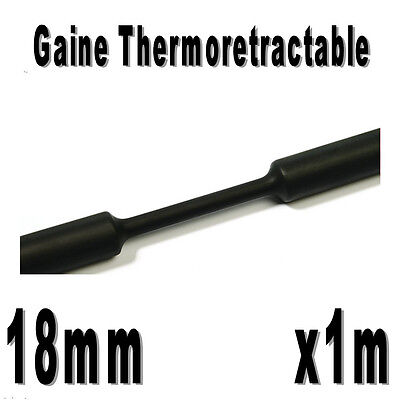 Gaine Thermo Rétractable 2:1 - Diam. 18 mm - Noir - 1m