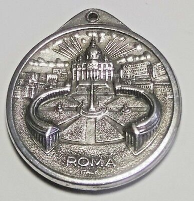Old Pendant Fob Pope Joannes Paulus II Roma Silver Signed Italy Double Sided