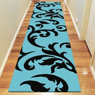 NEW Saray Rugs Colour Romanced Modern Runner Rug in Blue, Bronze, Green