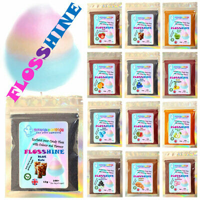 FLOSSHINE 12g mix,to make own candy floss sugar 21 flavours &10colours