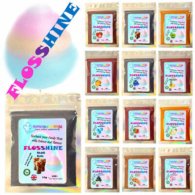 FLOSSHINE -25 Flavours &10 colours MIX 12g powder  make own candy floss sugar.