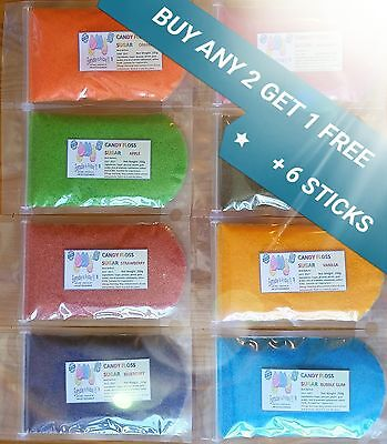 Candy Floss Sugar BUY 2 BAGS GET 1 FREE+ 6 STICKS11'' 28 FLAVOURS 13 COLOURS