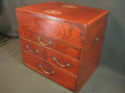 Japanese Antique Meiji Era (C.1890) Zelkova Wood Lidded Vanity Tansu Chest