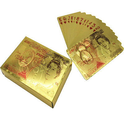 24k Gold Foil Plated £50 Pound Playing Cards Full Poker Deck