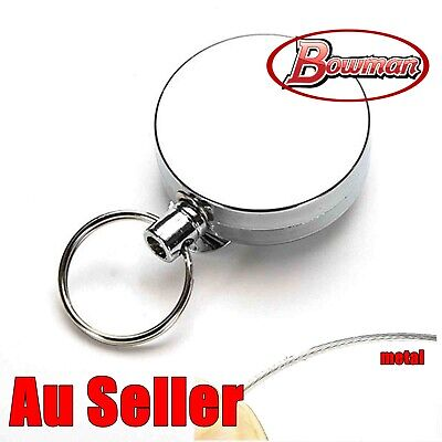Silver Metal Chain Retractable Pull Key Ring Belt Clip Steel Id Card Holder