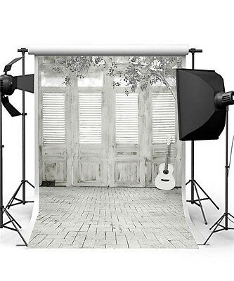 Brick Wall Background Studio Children Photography Backdrops Guitar Vinyl 5x7FT