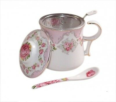 Elegant Fine Bone China Petit Pink English Rose Coffee Tea Cup Mug Strainer Set