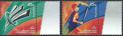 2000 'Paralympic Torch' Pair of Stamps with Tabs:Muh