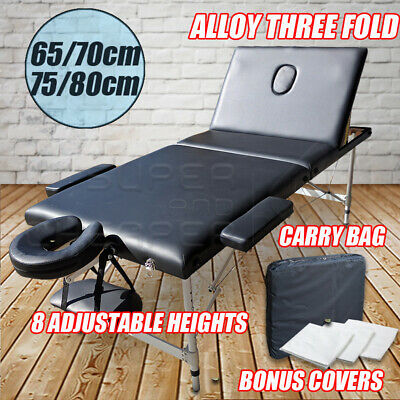 Portable Aluminium Massage Table 3 Fold Bed Therapy Waxing 75cm/80cm White Black