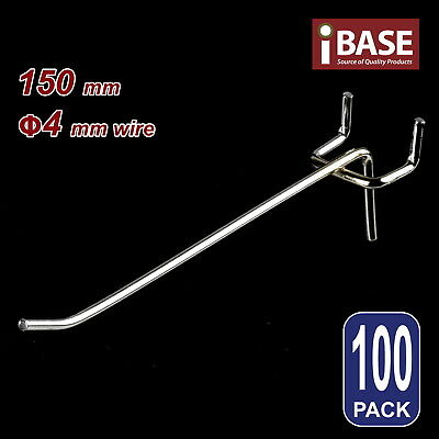 100 x PEGBOARD HOOK CHROME PANEL VALCANO BOARD 150MM 4MM STEEL