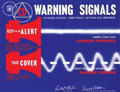 Civil Defense Cd Poster Cold War 1950 Era Warning Signal  Civil Defense