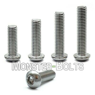 M6 - 1.00  Stainless Steel Button Head Socket Cap Screws Metric ISO 7380 A2 18-8