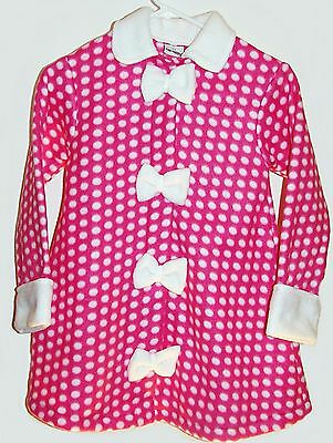 bb0e8a3073c02 Flap Happy Boutique girls pink and white fleece polka dot bow swing coat 6X  NWT