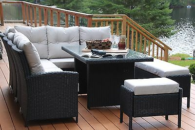 Greenbrier Sectional Sofa/Bench Glass Top Patio Dining Set - Seats 12 - Black