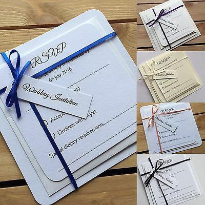 Personalised Wedding Invitations and RSVP Set Day or Evening-White or Ivory Card