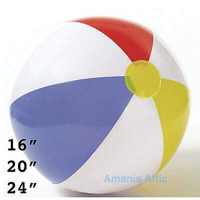 """60cm//24/"""" INFLATABLE BEACH BALL Blow up Panel Swimming Garden Holiday Party Toy"""