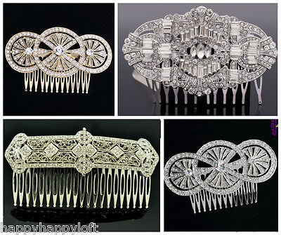 ART DECO 1920s STYLE HAIR CLIP COMB WEDDING BRIDAL BRIDE LADIES RHINESTONE SLIDE