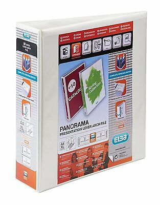 ELBA A4 PANORAMA POLYVISION 75mm SPINE LEVER ARCH FILE WHITE 400008436